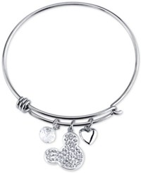 Disney Mickey Mouse Crystal Charm Bracelet In Sterling Silver