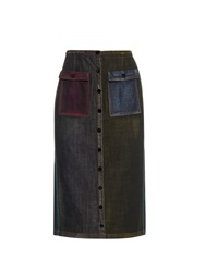 Marco De Vincenzo High Waisted Colour Block Denim Skirt