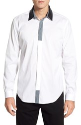 Men's Bogosse 'Keith' Shaped Fit Long Sleeve Sport Shirt With Leather Collar