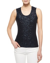 Oscar De La Renta Sequined Ribbed Tank Top