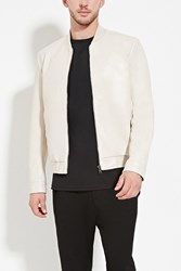Forever 21 Faux Leather Bomber Jacket Taupe