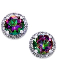 Macy's Mystic Topaz 1 3 4 Ct. T.W. And Diamond 1 6 Ct. T.W. Round Stud Earrings In 14K White Gold