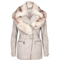 River Island Womens Cream Faux Fur Shawl Belted Coat