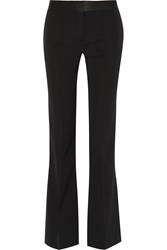 Victoria Beckham Satin Trimmed Wool Gabardine Flared Pants Black