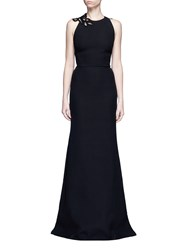 Victoria Beckham Guipure Lace Back Double Crepe Gown Black