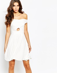 Love Off Shoulder Wrap Front Skater Dress With Box Pleat Skirt Cream