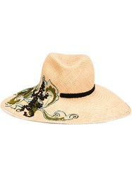 Etro Embroidered Paisley Hat Nude And Neutrals