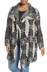 Lucky Brand Plus Size Women's Deco Print Cotton Blend Cardigan