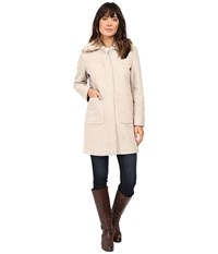 Lauren Ralph Lauren Faux Fur Collar Zip Front Novelty Platinum Heather Women's Coat Gray