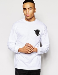 Crooks And Castles Long Sleeve T Shirt With Foul And Flagrant Print White