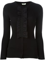 Fendi Ruffled Placket Cardigan Black