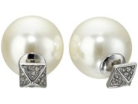 Rebecca Minkoff Pyramid Pearl Back Earrings Antique Rhodium Earring Metallic