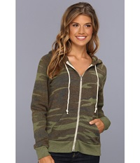Alternative Apparel Printed Adrian Hoodie Eco Camo Women's Sweatshirt Olive