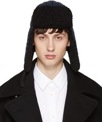 Maison Martin Margiela Navy Nylon And Wool Aviator Hat