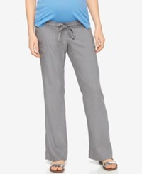 A Pea In The Pod Maternity Linen Wide Leg Pants Soft Gray