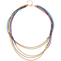 Adele Marie 5 Row Bead And Spring Tube Necklace Gold Multi