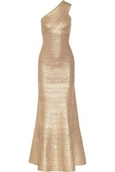 Herve Leger Lilyanna One Shoulder Metallic Bandage Gown Gold