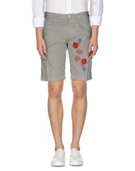 Manuel Ritz White Trousers Bermuda Shorts Men Grey