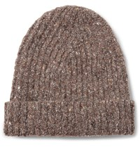Inis Meain Ribbed Melange Merino Wool And Cashmere Blend Beanie Brown