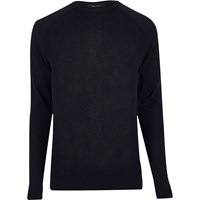 River Island Mens Navy Mesh Front Jumper