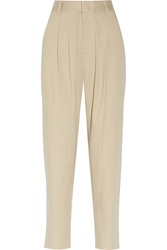 Alice Olivia Hw Pleated Stretch Linen And Cotton Blend Tapered Pants
