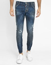 Dsquared Blue Stone Washed Sexy Twist Oiled Destroy Jeans