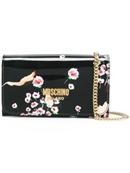 Moschino Burned Effect Floral Chain Wallet Black