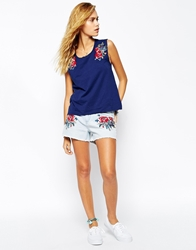 Element Bleached Denim Shorts With Embroidery Print Co Ord Beachwashblue
