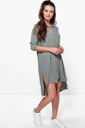 Boohoo Shirt Dress Khaki