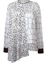 Issa Asymmetric Panel Printed Blouse White