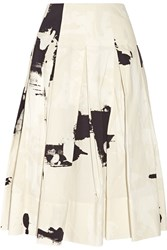 Donna Karan Printed Cotton Faille Midi Skirt White