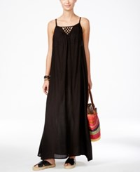 Raviya Lattice Back Maxi Dress Cover Up Women's Swimsuit Black