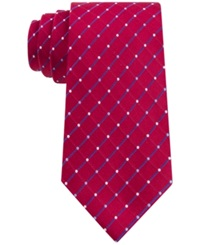 Geoffrey Beene City Grid Extra Long Tie Red