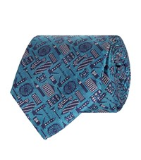 Turnbull And Asser London Landmarks Silk Tie Unisex Blue
