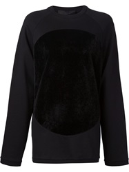 Mads Dinesen Faux Fur Circle Patch Sweatshirt Black