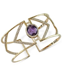 Effy Collection Effy Pink Amethyst 7 Ct. T.W. And Diamond 2 1 8 Ct. T.W. Cuff Bracelet In 14K Gold