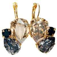 Isabella Tropea Crystal Pear Cluster Earrings Golden Shadow And Black Patina Gold