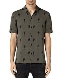 Allsaints Archo Palm Short Sleeve Slim Fit Button Down Shirt Khaki Green