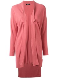 Twin Set High Low Hem Cardigan Pink And Purple