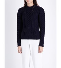 Anddaughter Crewneck Cable Knit Wool Jumper Navy