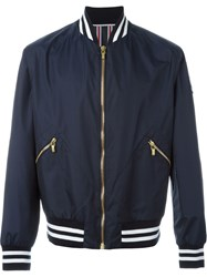 Moncler Gamme Bleu Striped Trim Varsity Jacket Blue