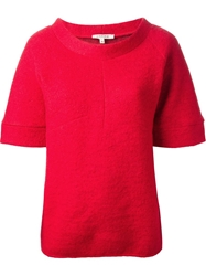 Hache Funnel Neck Sweater Red