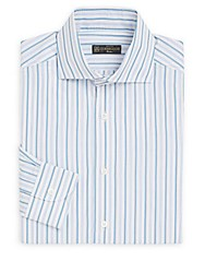 Corneliani Regular Fit Striped Cotton Dress Shirt White Stripe