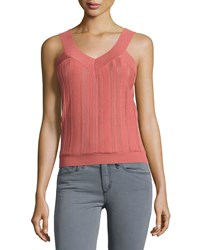 See By Chloe Ribbed V Neck Sleeveless Sweater Pink