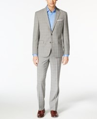Kenneth Cole New York Men's Gray Plaid Slim Fit Performance Wear Travel Suit Grey
