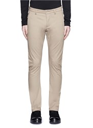 Attachment Slim Fit Cotton Twill Pants Brown