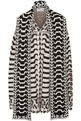 Temperley London Gabriele Jacquard Knit Merino Wool Cape White
