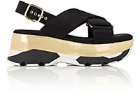 Marni Women's Crisscross Strap Platform Sandals Black Gold Blue Black Gold Blue