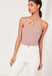 Missguided Harness Neck Ring Detail Bodysuit Pink Mauve