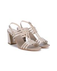 Maryam Nassir Zadeh Rosa Patent Leather Sandals Beige Grey Blue
